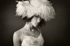 Portrait of a girl with a fur hat Stock Images