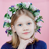 Portrait of a girl with garland Stock Photo