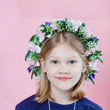 Portrait of a girl with garland stock image