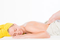 Portrait of girl gets massage  Stock Photography