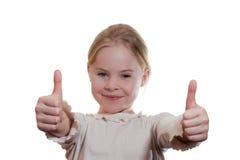 Portrait of  girl giving thumbs Stock Photo