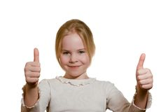 Portrait of  girl giving thumbs up Stock Image