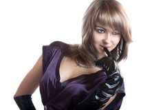 Portrait of the girl in gloves isolated Royalty Free Stock Image
