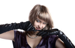 Portrait of the girl in gloves isolated Royalty Free Stock Images