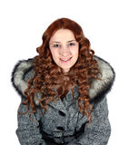 Portrait of girl in gray coat Royalty Free Stock Images