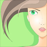 Portrait of the girl with green eyes. On a light green background Stock Photo