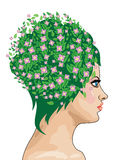 Girl with green hair and flowers Royalty Free Stock Image