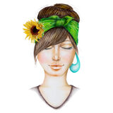 Portrait of a girl with a green kerchief and yellow sunflower on her hair. Eyes closed, hand-drawn with colored pencils on a white background Royalty Free Stock Images