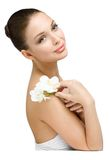 Portrait of girl handing white orchid Stock Image