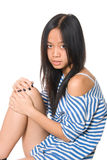 Portrait of girl with hands on a lap Royalty Free Stock Images