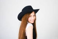Portrait girl with hat Royalty Free Stock Photos