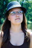 Portrait of a girl in hat Royalty Free Stock Images
