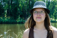 Portrait of a girl in hat Royalty Free Stock Photography