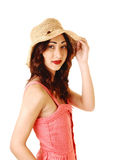 Portrait of girl with hat. Stock Image