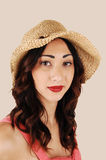 Portrait of girl with hat. Royalty Free Stock Photos