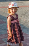 Portrait of the girl in a hat. Portrait of the girl in a hat at city square Royalty Free Stock Photos