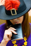 Portrait girl in hat with flask Royalty Free Stock Photos