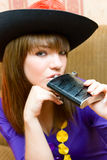 Portrait girl in hat with flask Royalty Free Stock Image