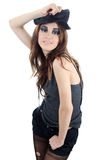 Portrait of the girl in a hat - grunge style Royalty Free Stock Photos