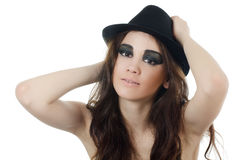 Portrait of the girl in a hat - grunge style Royalty Free Stock Images