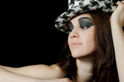 Portrait of girl in a hat - grunge style Royalty Free Stock Image