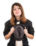 Portrait of a girl with a hat isolated Stock Photo