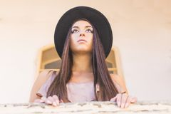 Portrait of a girl in hat Royalty Free Stock Photos