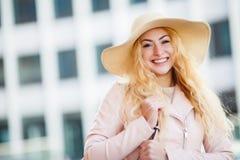 Portrait of girl in hat stock photos