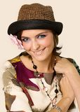 Portrait of the girl in a hat Stock Images