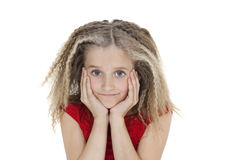Portrait of girl with head in hands over white background Stock Image