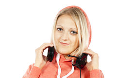 Portrait of the a girl with headphones Stock Images