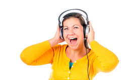 Portrait of a girl with headphones Stock Photography
