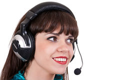 Portrait of girl with headphones with microphone Royalty Free Stock Photo