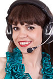 Portrait of girl with headphones with microphone Royalty Free Stock Photos