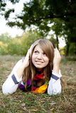 Portrait of girl with headphones at outdoor. Stock Photo