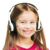 Portrait of girl in headset Stock Photos