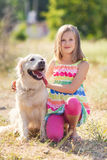 Portrait of a Girl with her beautiful dog outdoors Royalty Free Stock Photos