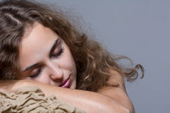 Portrait of a girl with her eyes closed. Isolated Royalty Free Stock Image