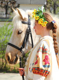 Portrait of a girl and her horse Royalty Free Stock Photo