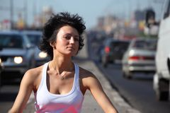 Portrait of girl on highway Stock Photo