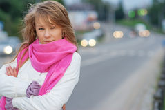 Portrait of girl about highway Royalty Free Stock Photo