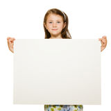 Portrait of a girl holding blank sign Royalty Free Stock Images
