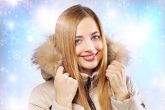 Portrait of girl in hooded jacket. Stock Photography