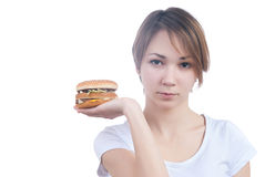 Portrait of girl with humburger Royalty Free Stock Photography