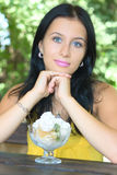 Portrait girl with ice-cream Royalty Free Stock Photography