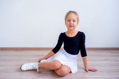 Girl on ice skates. A portrait of a girl on ice skates Stock Images