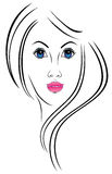 Portrait of a girl. An illustration of a girl with stylized hair Stock Photo