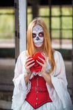 Portrait of a girl in the image of Santa Muerte Royalty Free Stock Image