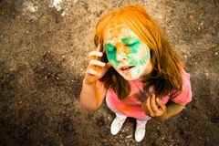 Portrait of a girl for Indian festival of colors Holi Stock Photography