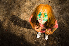 Portrait of a girl for Indian festival of colors Holi Royalty Free Stock Images